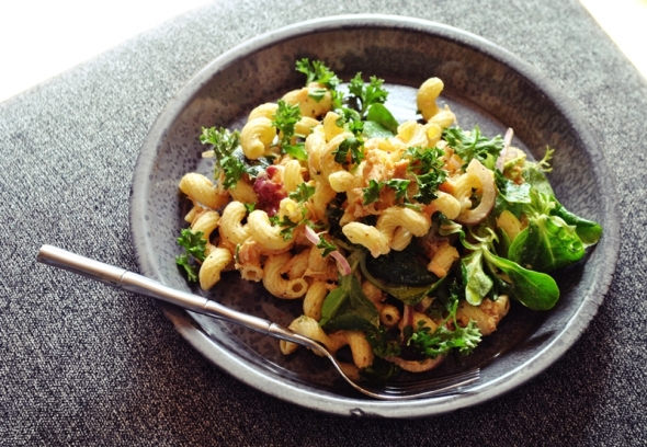 Salmon and Cavatappi Pasta Salad with Smoked Paprika + Sriracha Sauce