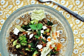 Warm lentil salad with broccoli, napa cabbage + feta cheese