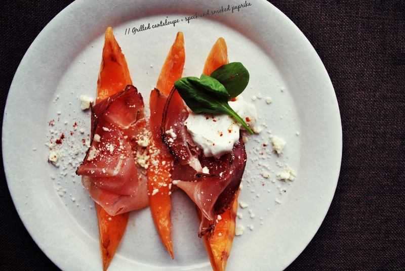 Grilled cantaloupe + speck and smoked paprika