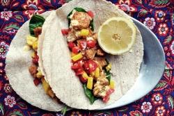 Pan-seared fish tacos with tomato-mango salsa + aji amarillo sauce