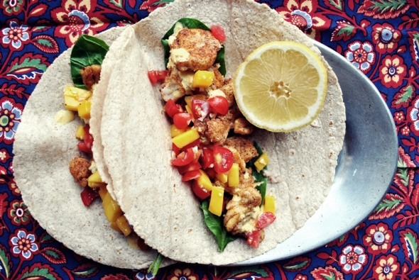 Pan-seared fish tacos with tomato-mango salsa + aji amarillo sauce