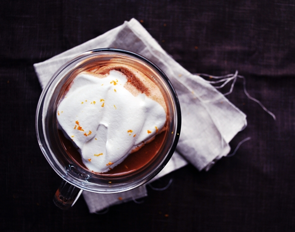 Mexican Hot Chocolate with Cointreau + Whipped Cream