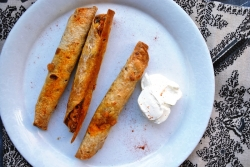 Sweet potato, black bean, and spinach taquitos