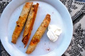Sweet potato, black bean, and spinach taquitos