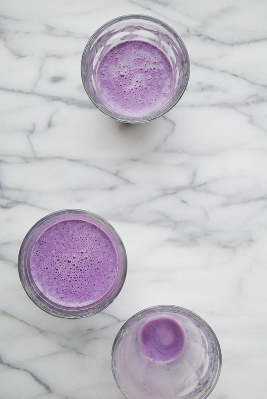 Blueberry, banana, and almond protein shake