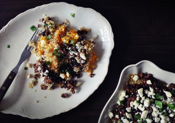 Black bean, quinoa, and butternut squash casserole with feta cheese