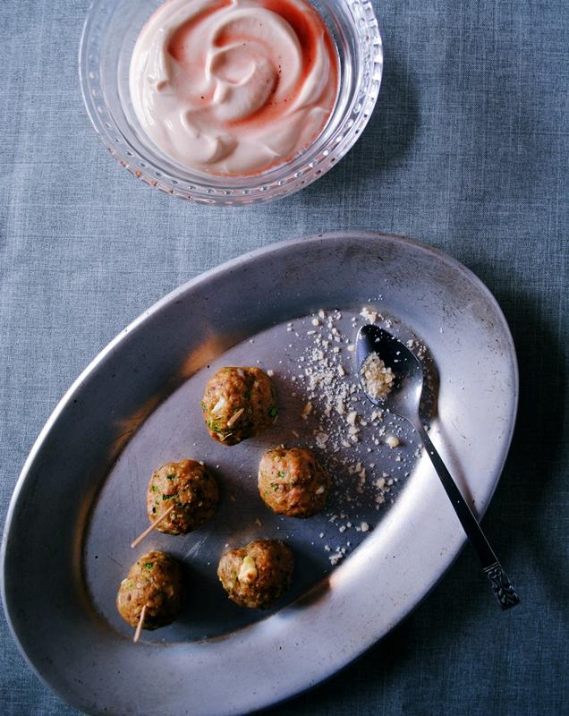 Turkey, spinach, and feta meatballs + cranberry Greek yogurt sauce