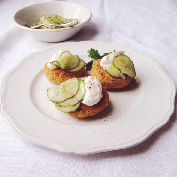 Chickpea Patties with Smoked Paprika and Feta Cheese + Greek Yogurt and Cucumber-Red Onion Relish