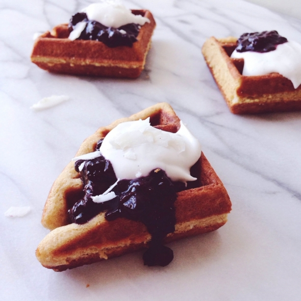 Coconut Lemon Waffles with Blueberry Chia Seed Jam + Coconut Whipped Cream