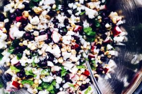 Black Bean, Radish, Corn Salad with Cotija Cheese + Lime-Cilantro Dressing