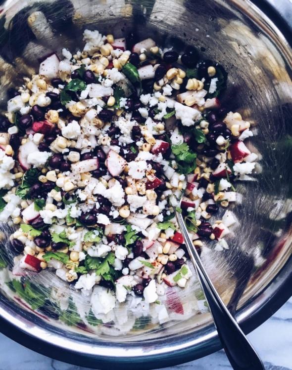 Black bean, radish, corn salad with cotija cheese and lime-cilantro dressing