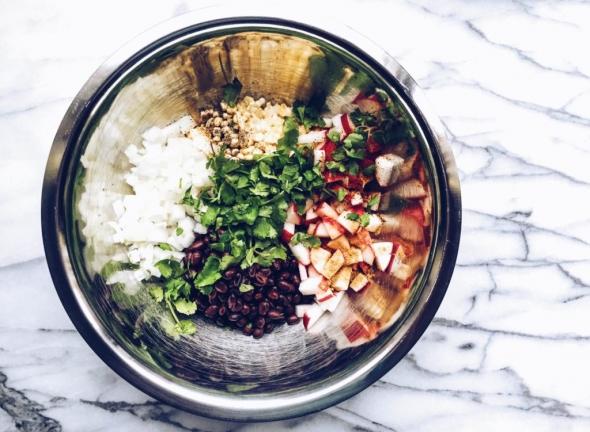 Black bean, radish, corn salad with lime-cilantro dressing