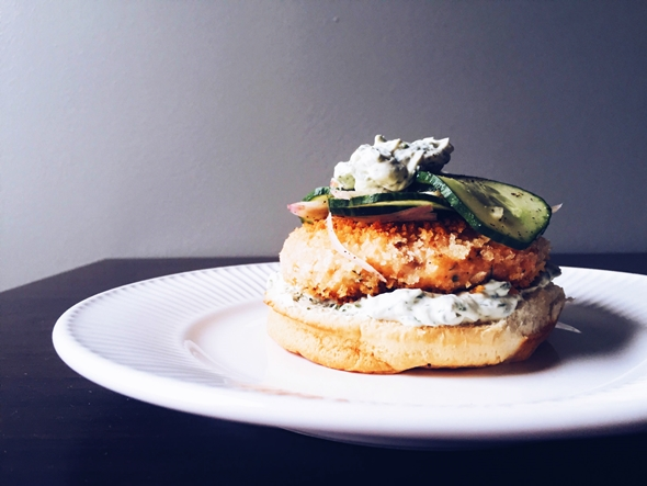 Smoked Salmon Burger with Whipped Dill Cream Cheese and Cucumber Relish