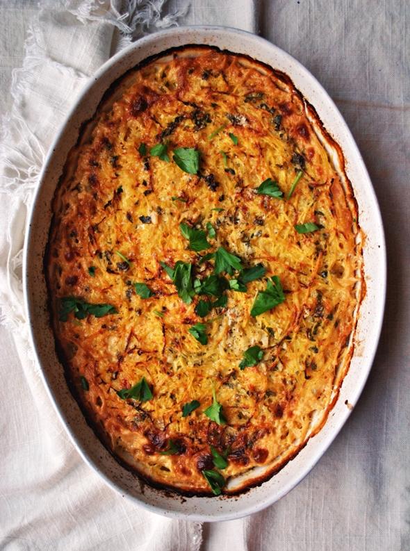 Spaghetti Squash and Sweet Potato Gratin with Brie