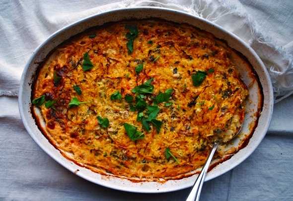 Spaghetti Squash and Sweet Potato Gratin with Brie