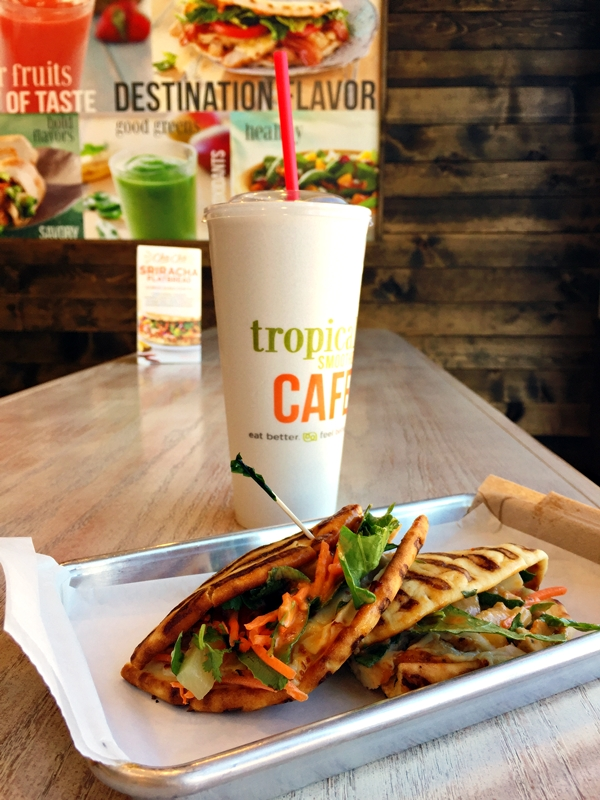 Tropical Smoothie Cafe's Cha Cha Sriracha Flatbread and Boosted Smoothie