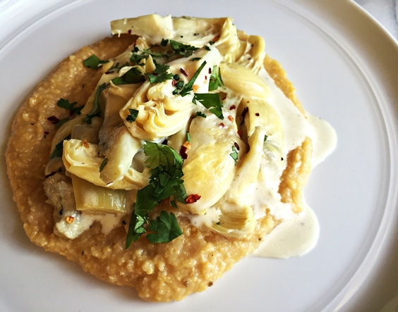 Polenta with Mushrooms and Parmesan + Artichokes Braised in Cream