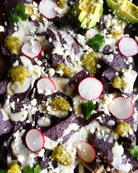 Garden Fresh Gourmet Nachos with Smoked Gouda Bechamel + Avocado Verde Salsa